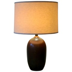 Pair of Mid Century Rust Colored Ceramic Table Lamps by Bostlund Industries