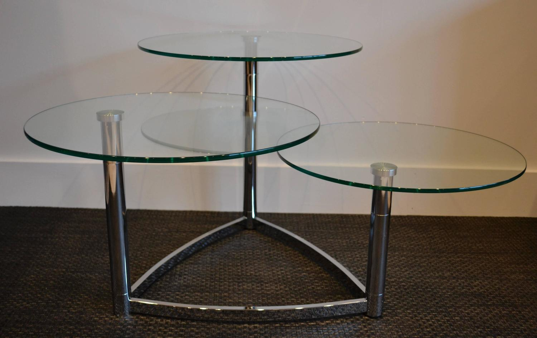 Modern chrome and round glass three tier coffee table at for Three tier glass coffee table