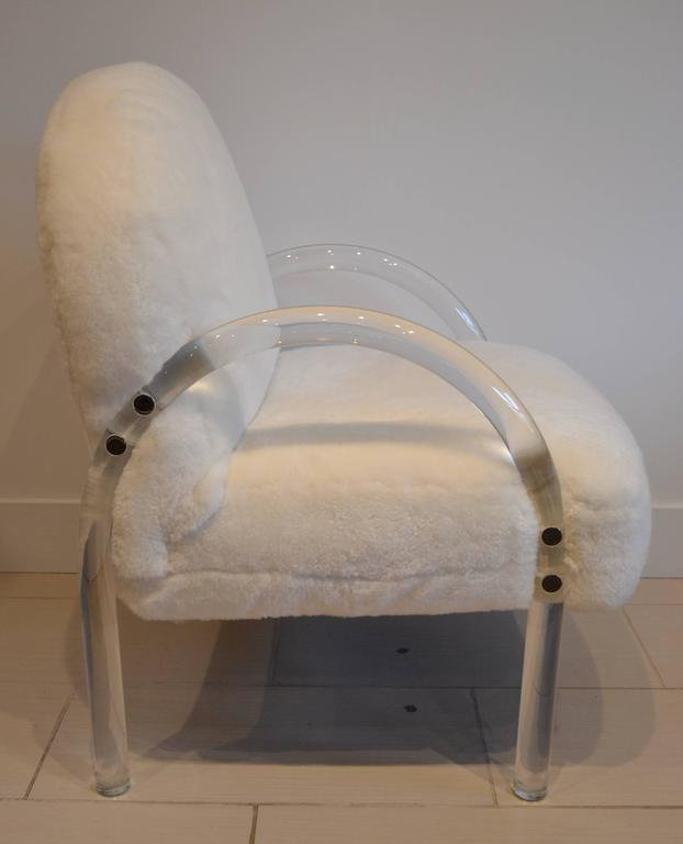 Tubular Lucite frame side chair with new white shearling skin, pace collection, 1970s.