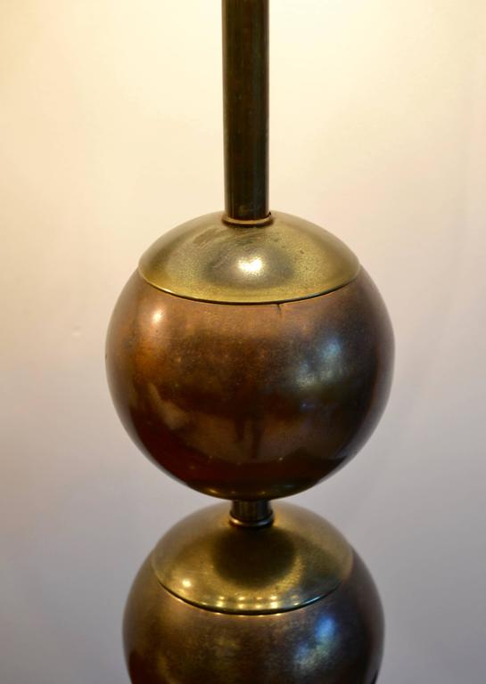 Pair Of Mid Century Modern Machine Age Stacked Brass Ball