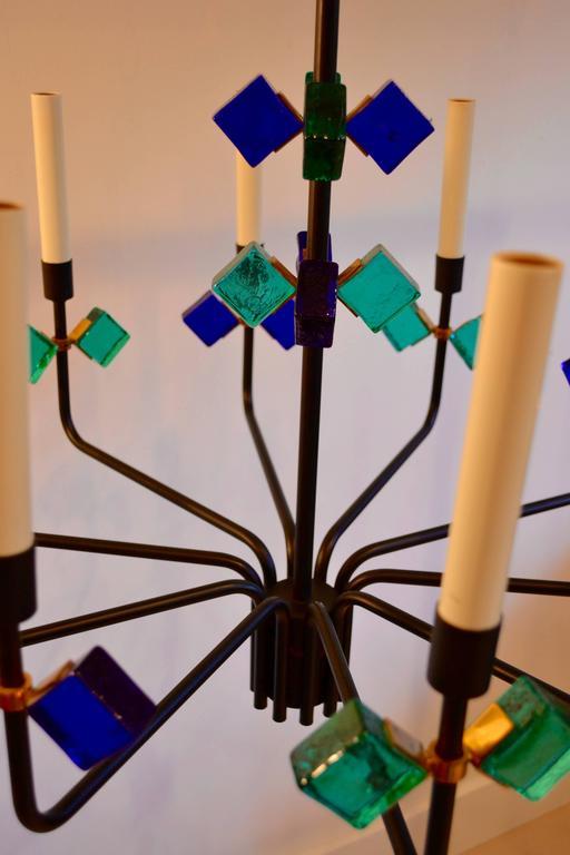 Mid-Century Modern Mid Century Blue Aqua Marine Glass & Iron Chandelier by Holm Sorensen, Denmark For Sale