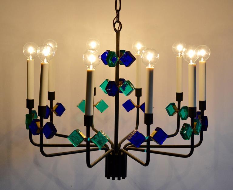 Danish Mid Century Blue Aqua Marine Glass & Iron Chandelier by Holm Sorensen, Denmark For Sale