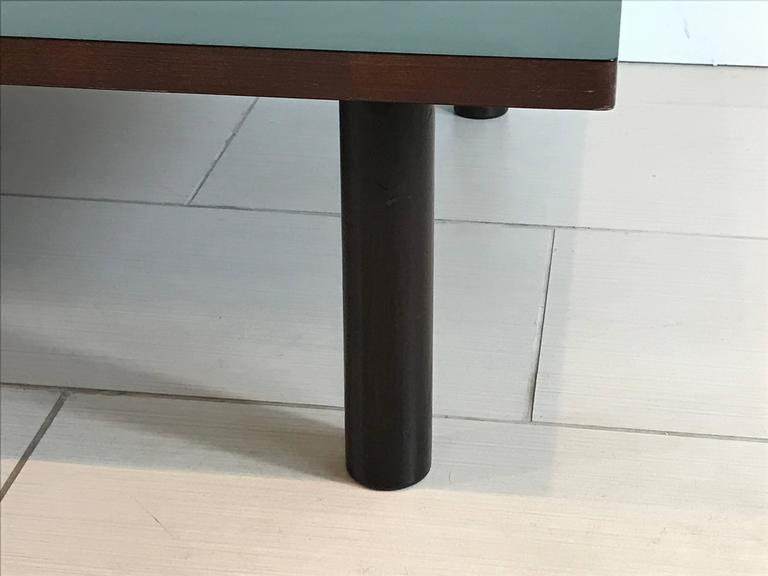 An Incredibly Beautiful And Minimal Japanese Green Laminate Top And Wood  Base Low Rectangular Dining Or