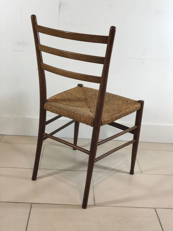 Set of Six Mid-Century Rush Seat Dining Chairs, Gio Ponti, Italy, 1950s 2