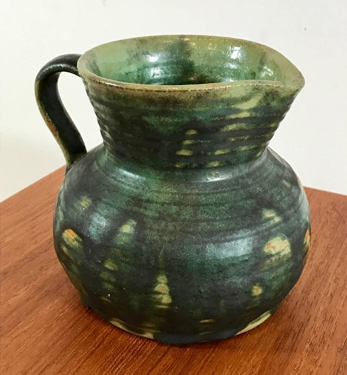 Art Deco Ceramic Green Drip Glaze Small Pitcher by Fulper Pottery For Sale