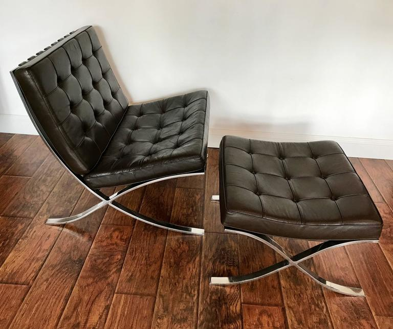 Beautiful Mocha Brown Barcelona Chair With Ottoman, 1970s Production, Solid  Stainless Steel Frames.