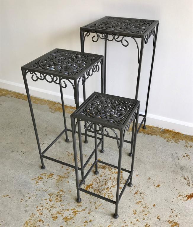 Hollywood regency cast iron small nesting tables s