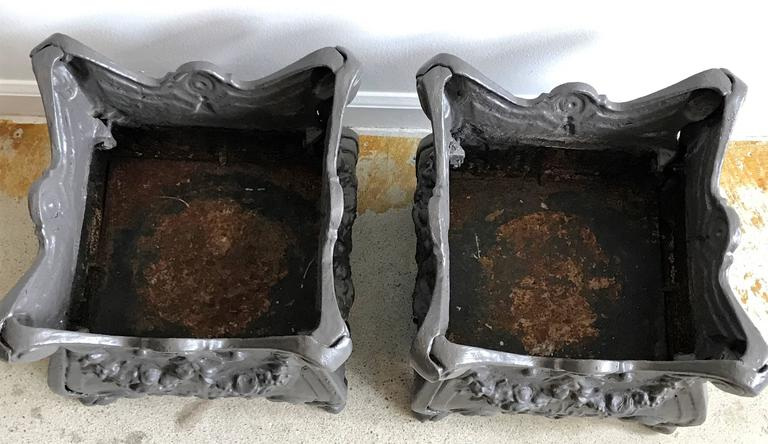 Unknown Pair of Square Cast Iron Garden Planters or Urns, early 20th Century For Sale