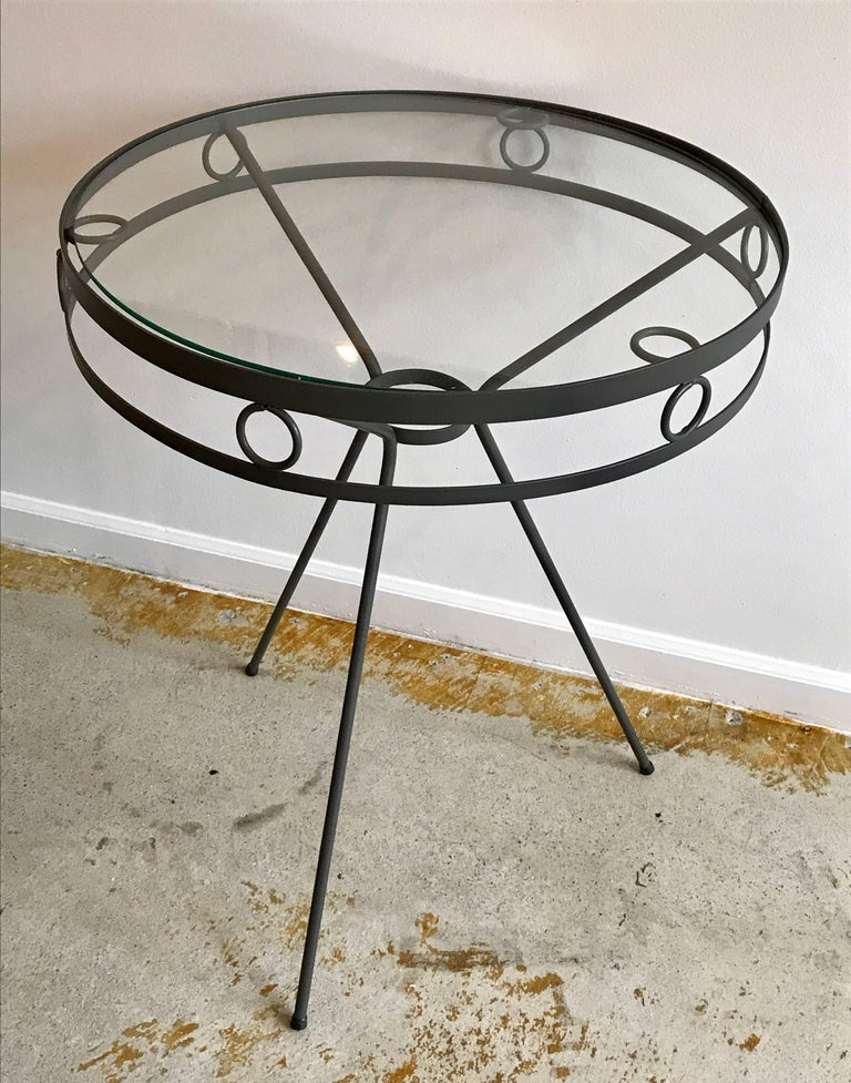Round Metal And Glass Side Tables Or End Tables 1950s