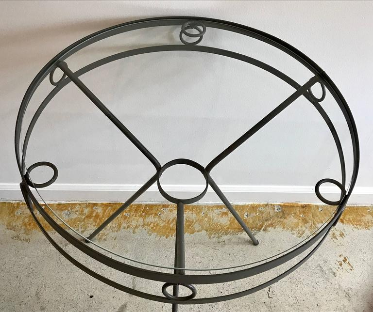 Mid-Century Modern Mid Century Iron and Glass Garden Café Tables or Side Tables, 1950s For Sale