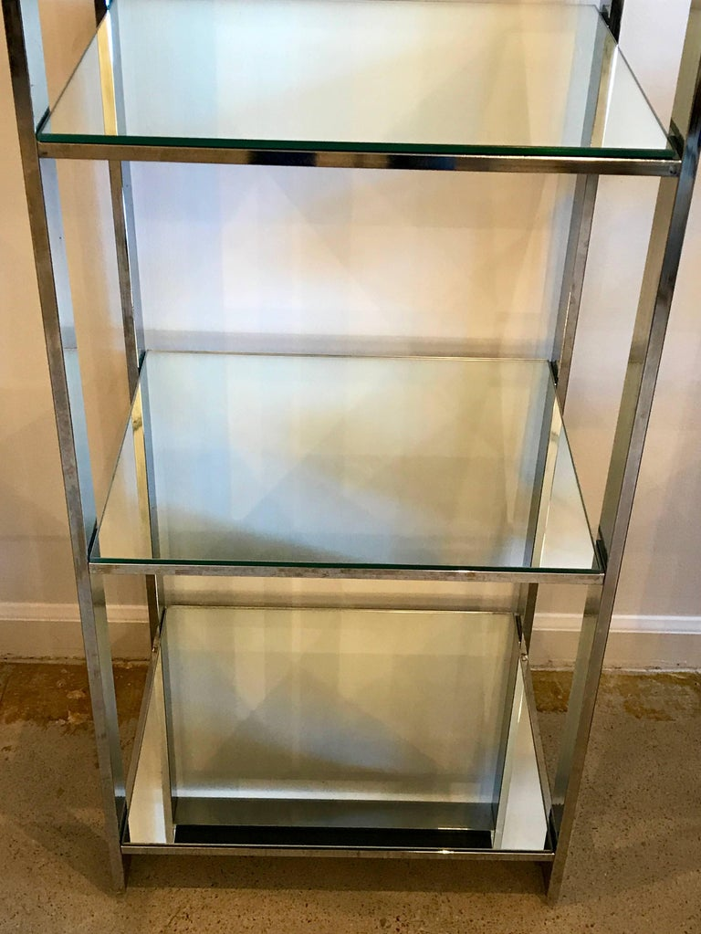 Set of Four Chrome and Mirror Etageres Display Towers or Shelves, 1970s 6