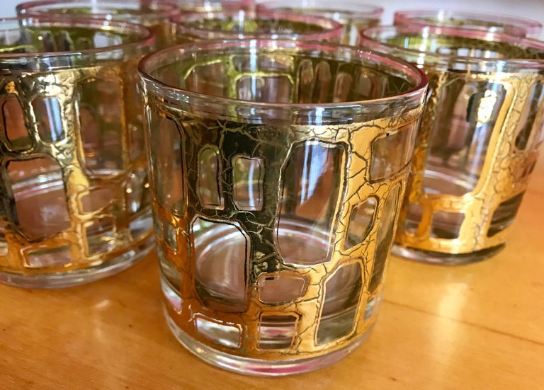 American Eight Mid-Century Modern Rock Glasses by Culver For Sale
