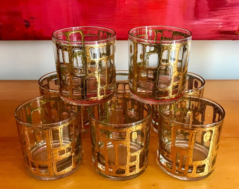 Appliqué Eight Mid-Century Modern Rock Glasses by Culver For Sale