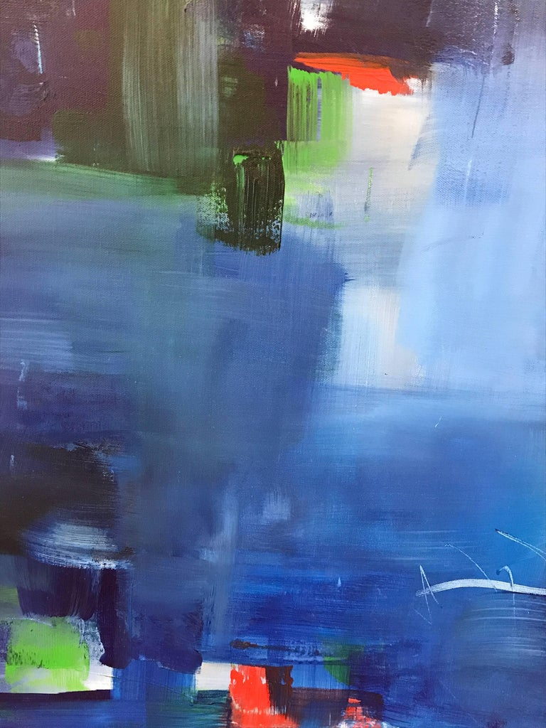 """Rebecca Ruoff, """"Holiday"""", Large Blue Abstract Painting, 2017 5"""