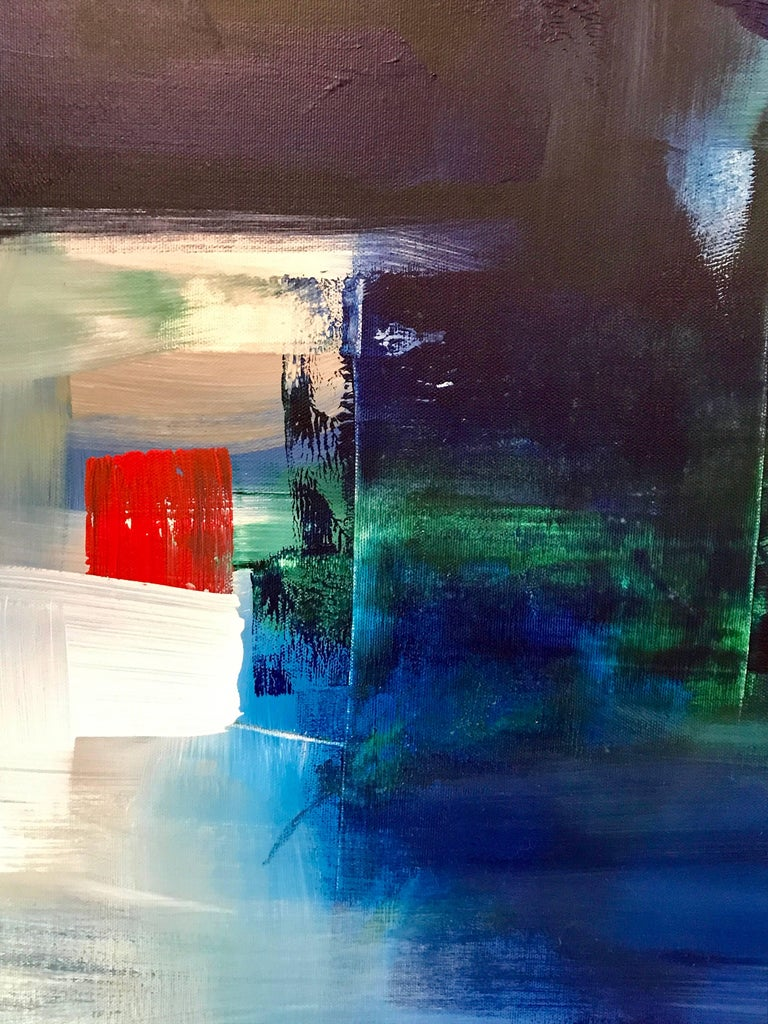 """Rebecca Ruoff, """"Holiday"""", Large Blue Abstract Painting, 2017 2"""