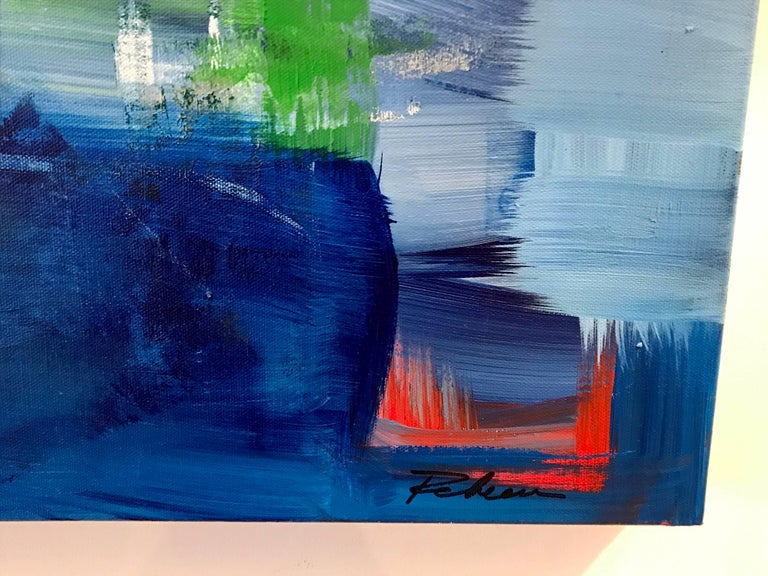 """Rebecca Ruoff, """"Holiday"""", Large Blue Abstract Painting, 2017 6"""