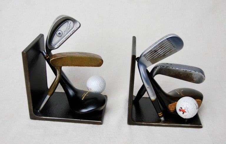 American Vintage Golf Club Head Bookends, Industrial, Handcrafted, Artisan For Sale