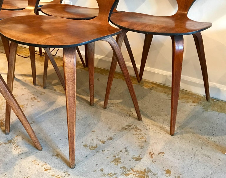 Six Bentwood Walnut Dining Chairs By Norman Cherner For Plycraft - Cherner dining table