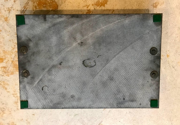 Black Marble Serving Tray With Brutalist Bronze Cat