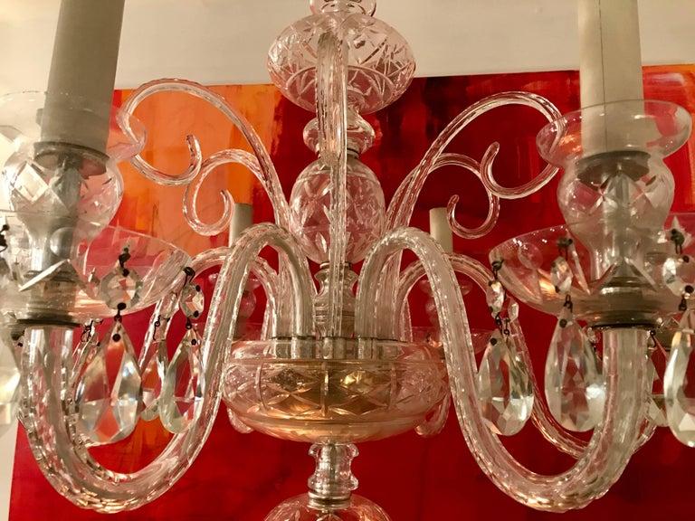 Beautiful six-light Venetian glass chandelier, handblown decorative stems, early 20th century, Italy.