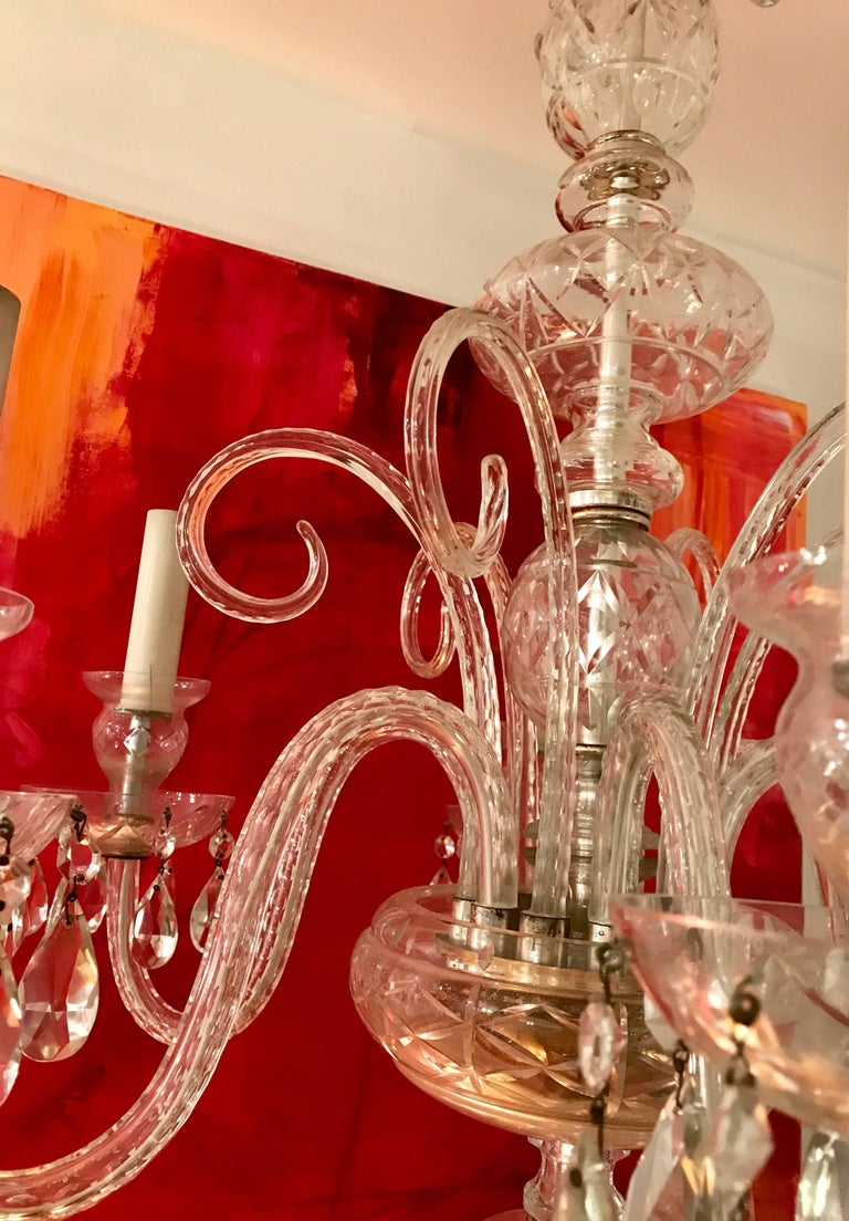 Hand-Crafted  Six Light Venetian Glass Chandelier, Early 20th Century, Italy For Sale
