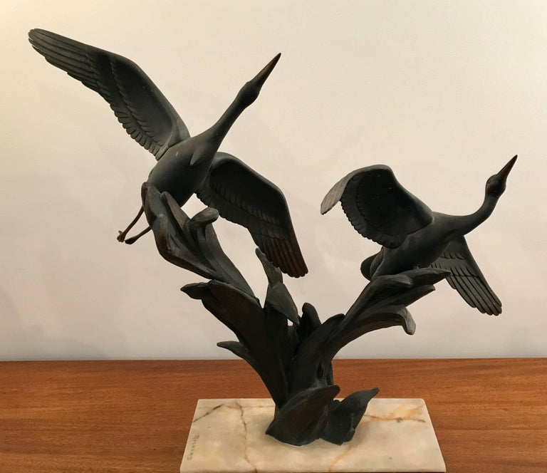 Mid-20th Century Art Deco Bronze Birds in Flight Sculpture by Irenee Rochard, France For Sale