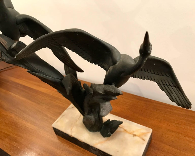 Art Deco Bronze Birds in Flight Sculpture by Irenee Rochard, France For Sale 1
