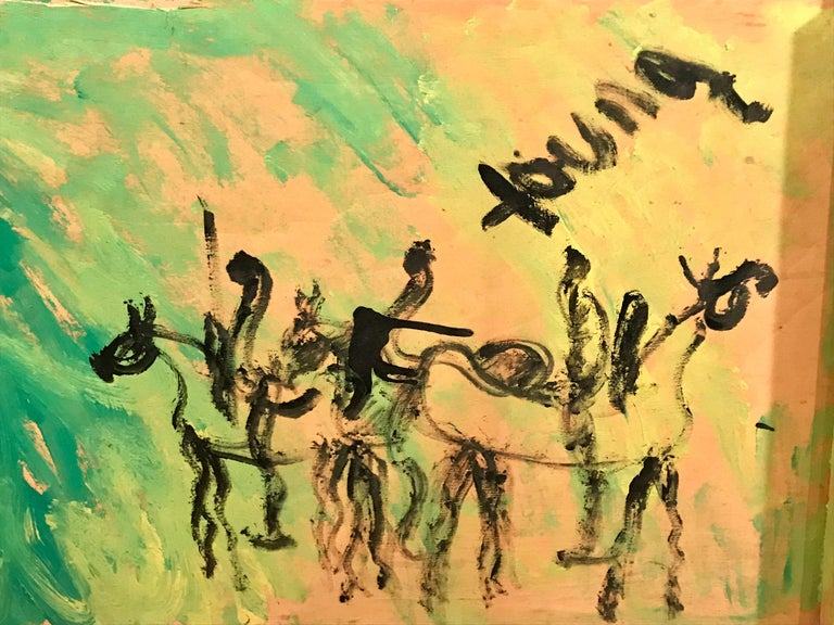 Vibrant abstract work of two horse and riders by American artist Purvis Young. Acrylic on found semi framed crate.