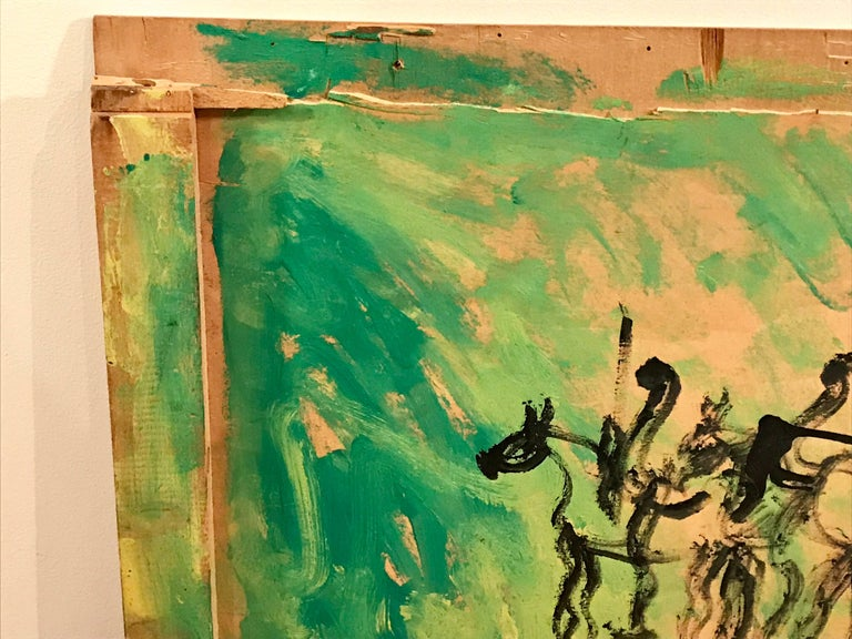 American Purvis Young Horse and Rider Modernist Abstract Painting on Found Crate For Sale