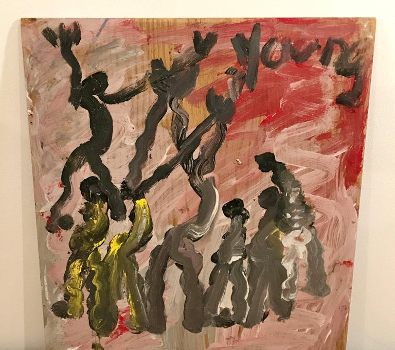 Abstract painting depicting modern dancers by American artist Purvis Young, acrylic on found particle board.