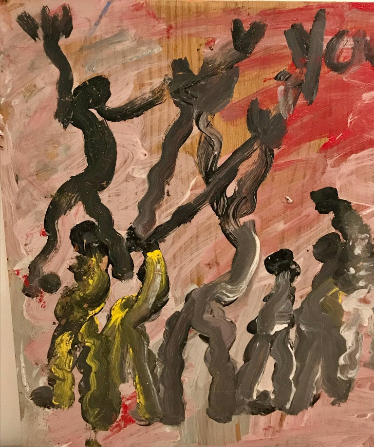 Purvis Young Modernist Abstract Painting of Modern Dancers on Board In Good Condition For Sale In Bedford Hills, NY