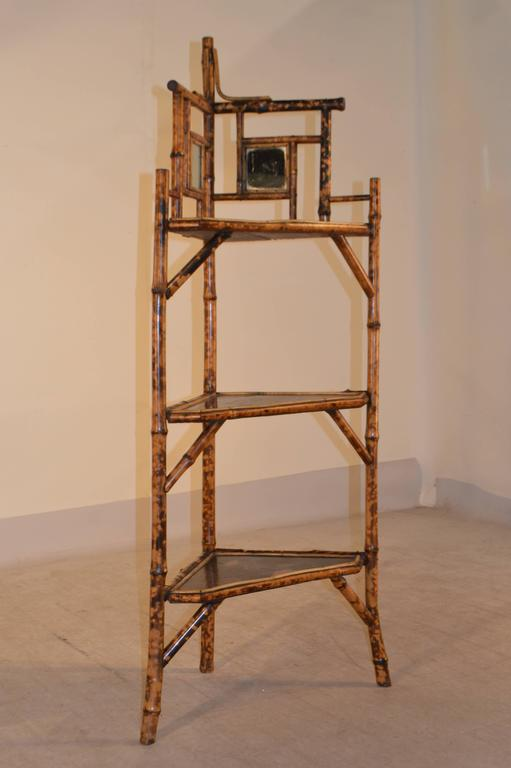 19th Century Bamboo Corner Shelf From France Made With Tortoise It Has Two
