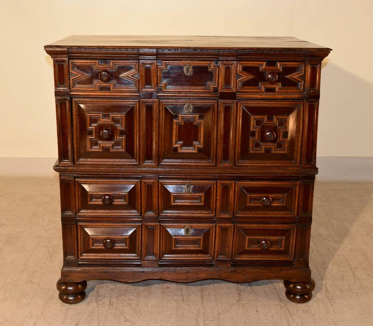 Oak 17th Century Geometric Chest of Drawers For Sale
