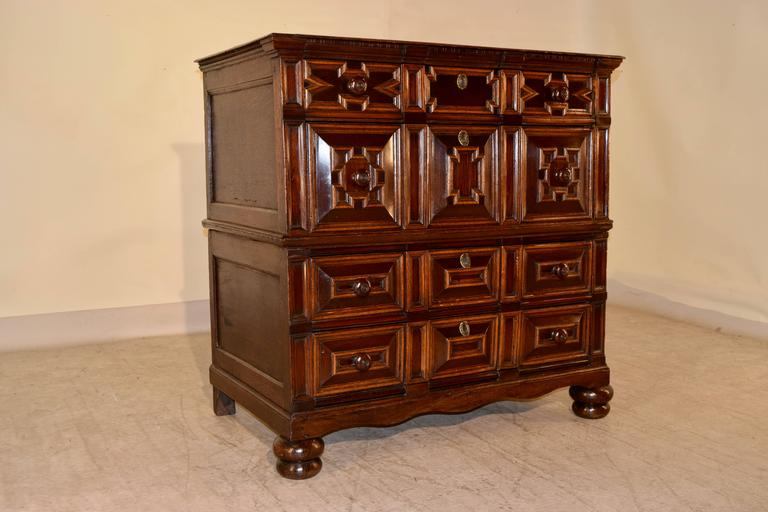Charles II 17th Century Geometric Chest of Drawers For Sale