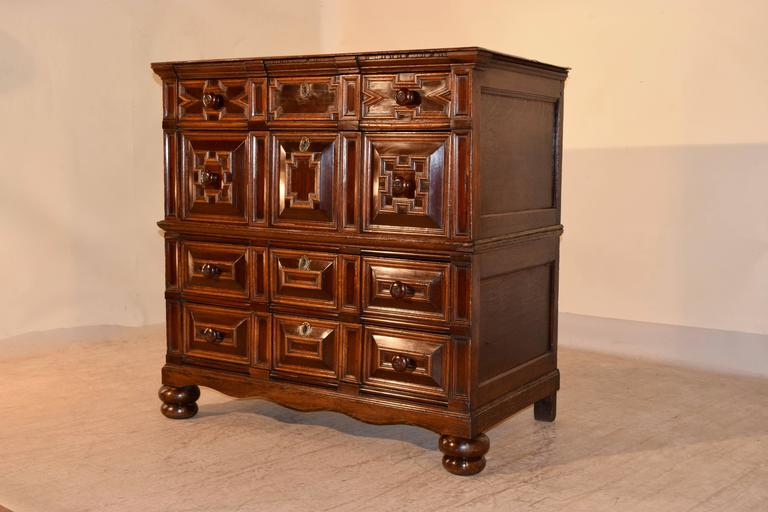 English 17th Century Geometric Chest of Drawers For Sale
