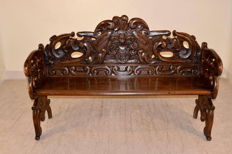 Hand-Carved 19th Century French Carved Oak Settle For Sale