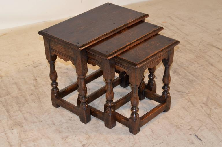 Set Of Three Late 19th Century English Oak Nesting Tables. The Tops Are  Bevelled