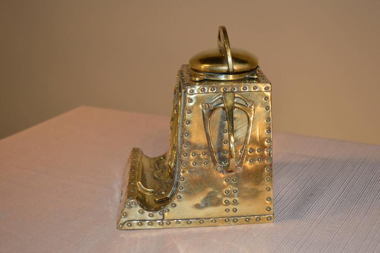 Victorian 19th Century Brass Inkwell with Equestrian Design For Sale