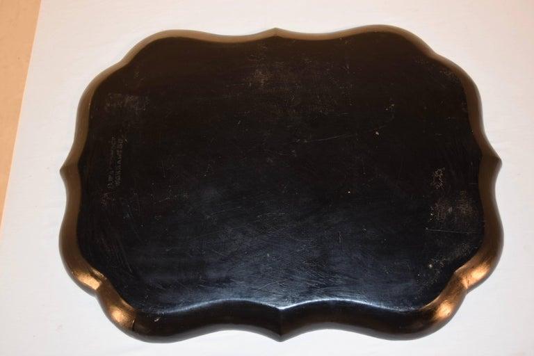 Hand-Painted 19th Century B.Walton & Co. Papier Mâché Tray For Sale