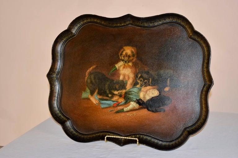Victorian 19th Century B.Walton & Co. Papier Mâché Tray For Sale