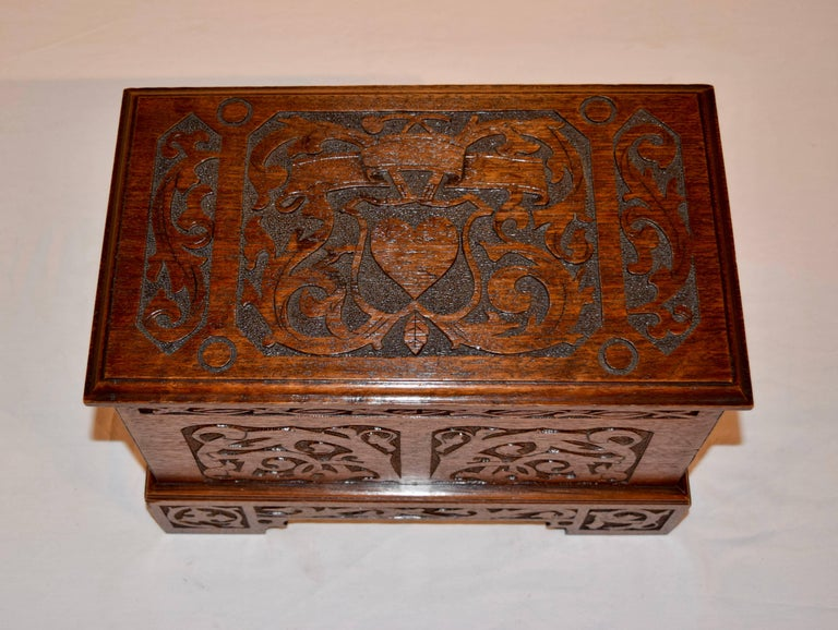 Hand-Carved Late 19th Century Miniature Blanket Chest For Sale