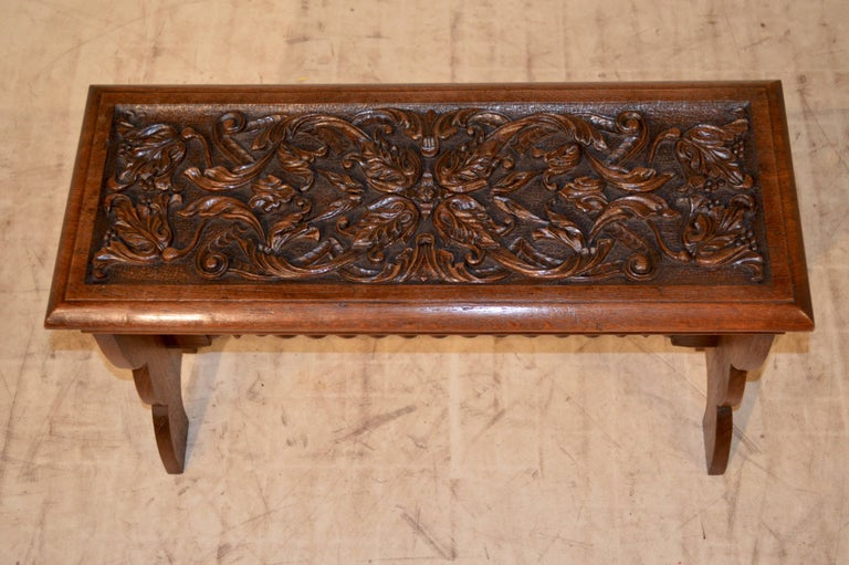 Victorian 19th Century English Oak Carved Bench For Sale