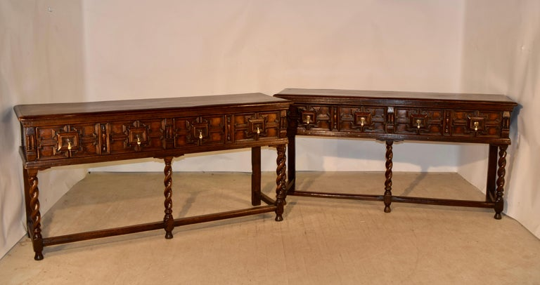 Oak Pair of 19th Century English Geometric Sideboards For Sale