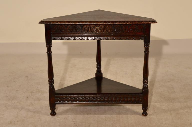 19th Century English Oak Corner Table at 1stdibs