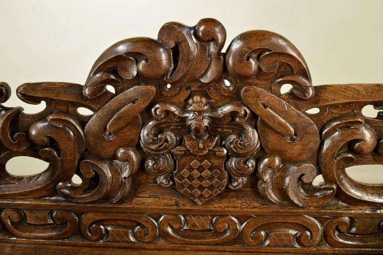 19th Century French Carved Oak Settle For Sale 1