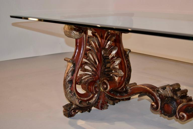 Glass 19th Century Italian Painted Coffee Table For Sale