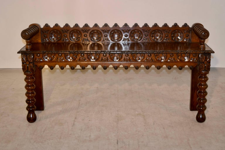 Victorian 19th Century Oak Window Seat For Sale