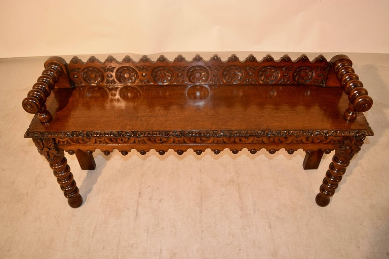 English 19th Century Oak Window Seat For Sale