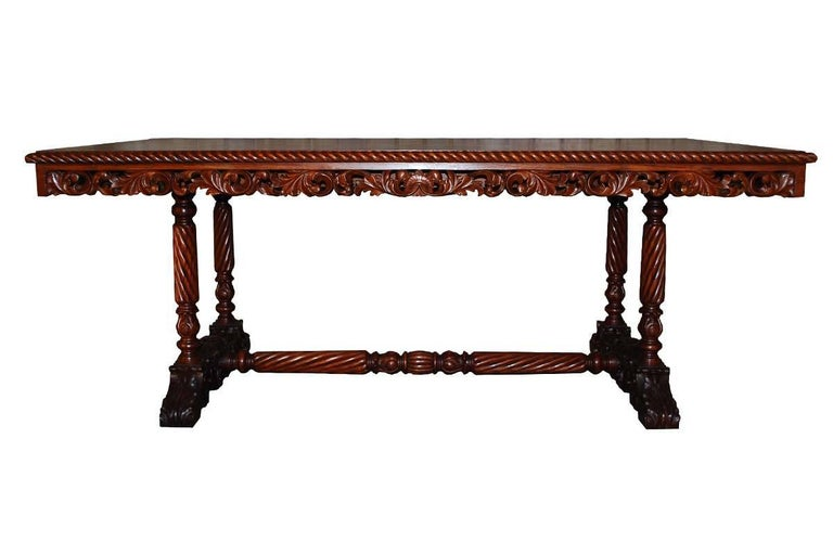 Mahogany 20th Century Neo Renaissance Italian Hand-Carved Table and Matching Sidetables For Sale