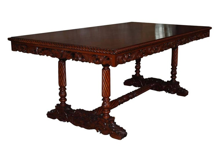 20th Century Neo Renaissance Italian Hand-Carved Table and Matching Sidetables For Sale 1